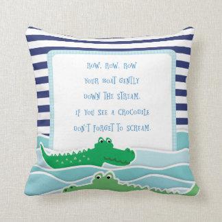Row Your Boat with Crocodiles Pillow