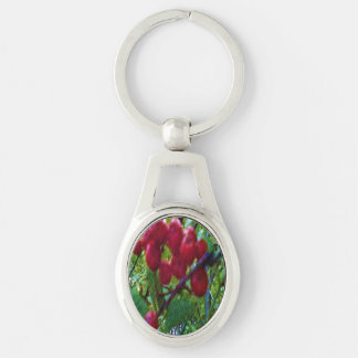 rowan berries Silver-Colored oval metal keychain