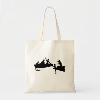 Rowboat and Dock Silhouette Canvas Bags