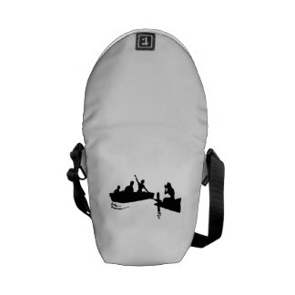 Rowboat and Dock Silhouette Messenger Bags