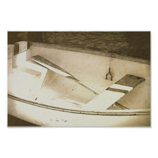 Rowboat B&W Boats Nautical Poster
