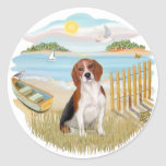 Rowboat - Beagle 4 Round Stickers