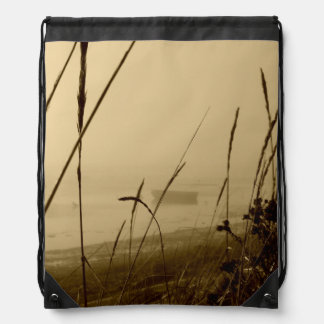 Rowboat In Fog Drawstring Bag