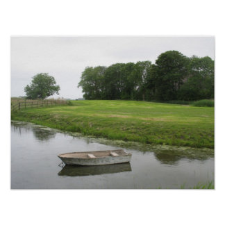 Rowboat in Pond Art Poster
