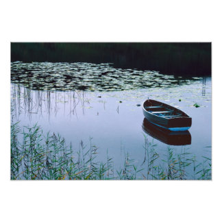 Rowboat on small lake surrounded by water photograph