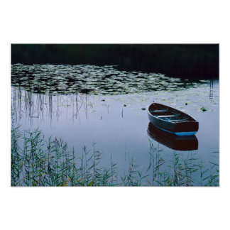 Rowboat on small lake surrounded by water posters