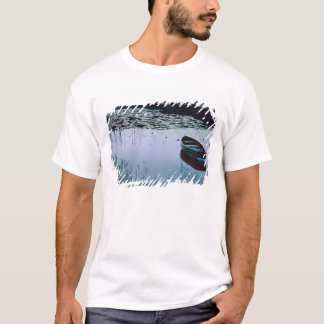 Rowboat on small lake surrounded by water T-Shirt