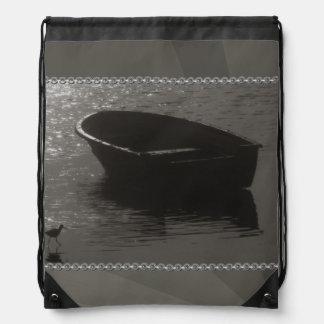 Rowboat Under Cloud Drawstring Bag