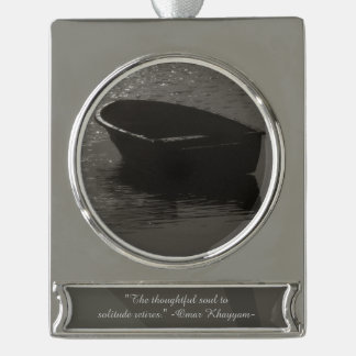 Rowboat Under Cloud Silver Plated Banner Ornament