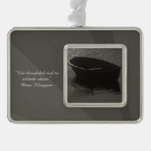 Rowboat Under Cloud Silver Plated Framed Ornament