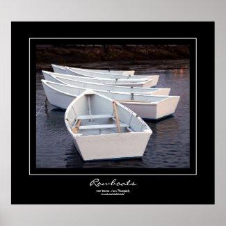 Rowboats Black Border Poster
