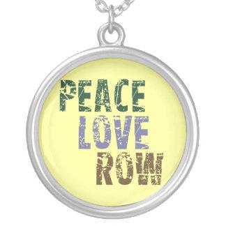 RowChick Peace Love Row Round Pendant Necklace
