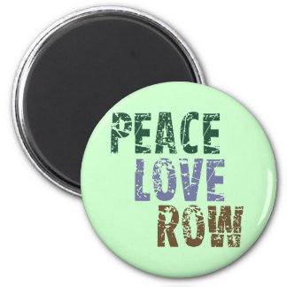RowChick Peace Love Rowing 2 Inch Round Magnet