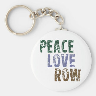 RowChick Peace Love Rowing Basic Round Button Keychain