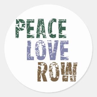 RowChick Peace Love Rowing Classic Round Sticker