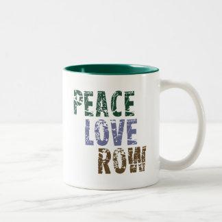 RowChick Peace Love Rowing Two-Tone Coffee Mug