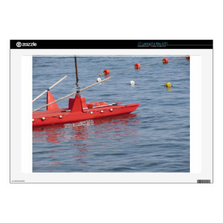"Rowed rescue catamaran at sea 17"" laptop decal"
