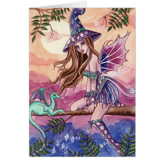 Rowenia - Witch and Dragon Card