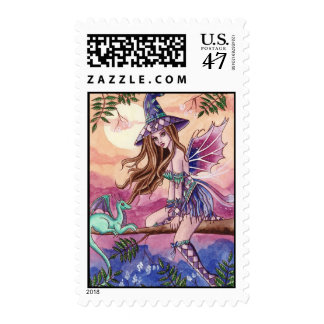 Rowenia - Witch and Dragon Postage Stamp