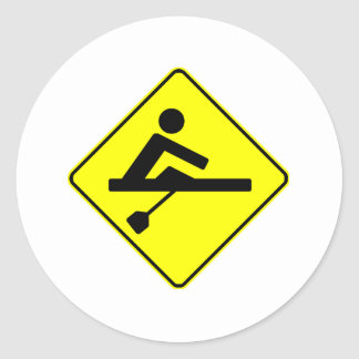Rower Crossing Round Stickers
