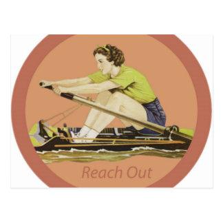 Rower de la mujer del vintage postales