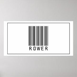 Rower del código de barras póster