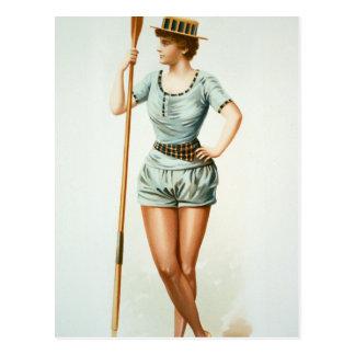 Rower femenino del vintage con el remo tarjeta postal