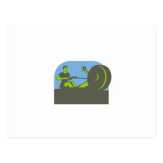 Rower Rowing Machine Half Circle Retro Postcard