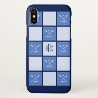 Rowers monogram oarsome blue squares iPhone x case