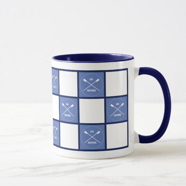 Rower's oar inspiring blue squares
