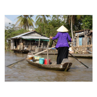 Rowing a boat in Mekong Delta, Vietnam Post Cards