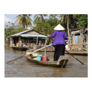 Rowing a boat in Mekong Delta, Vietnam Postcard