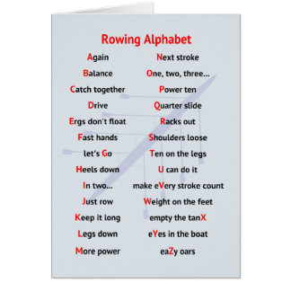 Rowing Alphabet fun A to Z Card