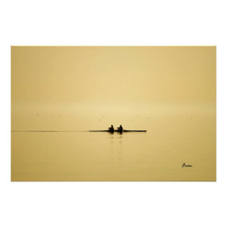 rowing at dusk poster