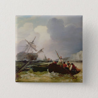 Rowing Boat Going to the Aid of a Man-o'-War in a Button