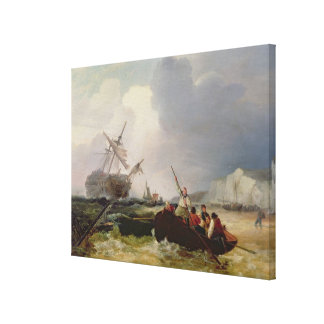 Rowing Boat Going to the Aid of a Man-o'-War in a Canvas Print