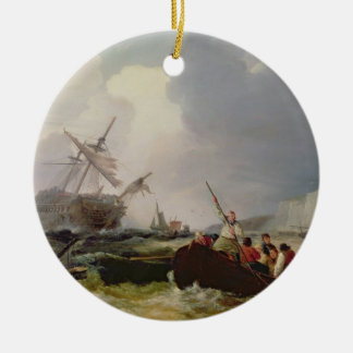 Rowing Boat Going to the Aid of a Man-o'-War in a Ceramic Ornament