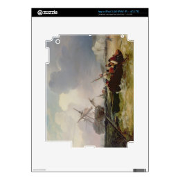 Rowing Boat Going to the Aid of a Man-o'-War in a Decals For iPad 3