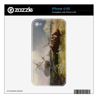Rowing Boat Going to the Aid of a Man-o'-War in a iPhone 4 Decals