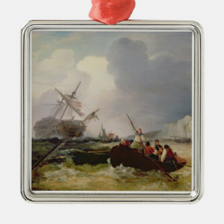 Rowing Boat Going to the Aid of a Man-o'-War in a Metal Ornament