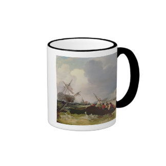 Rowing Boat Going to the Aid of a Man-o'-War in a Ringer Coffee Mug