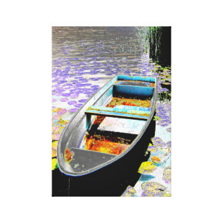 Rowing boat in the lake, photo art, canvas print