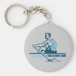 Rowing Crew Basic Round Button Keychain