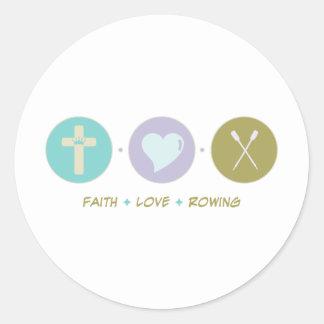 Rowing del amor de la fe pegatina redonda