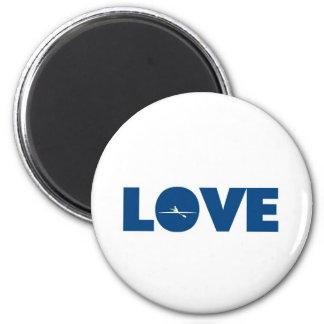 Rowing del amor imán redondo 5 cm