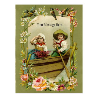 Rowing del muchacho y del chica del vintage en un  postal