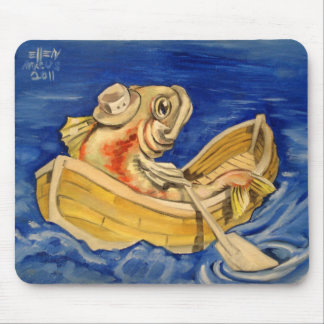 Rowing Fish Mouse Pad