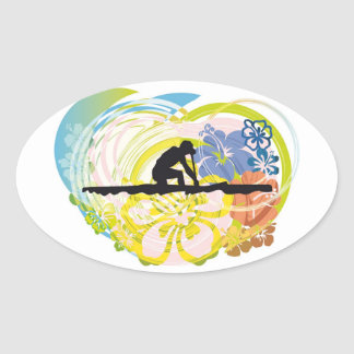 Rowing illustration oval sticker