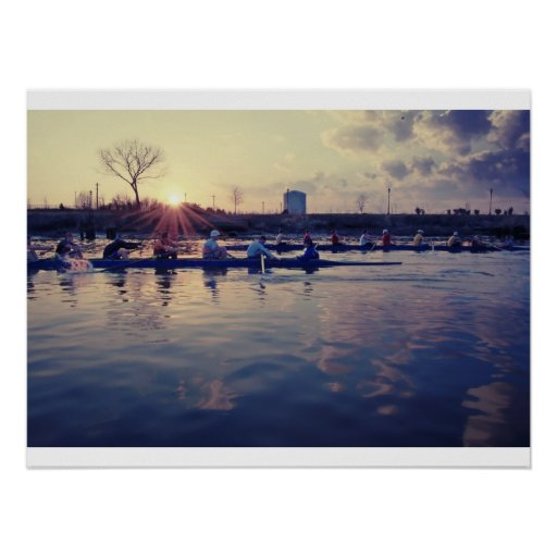 Rowing in the Sun Poster