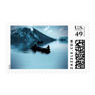 Rowing on a Serene Lake Stamp